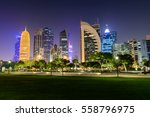 Stock photo doha skyline at blue hour 558796975