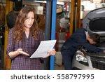 shocked female customer looking ... | Shutterstock . vector #558797995