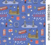 london city hand drawn pattern. | Shutterstock .eps vector #558803464