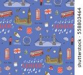 london city hand drawn pattern. | Shutterstock .eps vector #558803464