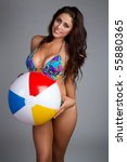 Bathing Suit Beach Ball Woman