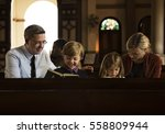 church people believe faith... | Shutterstock . vector #558809944