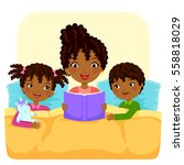 dark skinned woman reading... | Shutterstock .eps vector #558818029