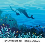 blue coral reef with fishes and ... | Shutterstock .eps vector #558820627