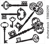 antique keys | Shutterstock .eps vector #55882090