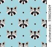 seamless raccoon pattern in...