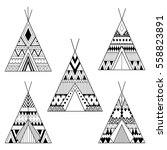 hand drawn american native... | Shutterstock .eps vector #558823891