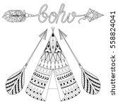 hand drawn american native... | Shutterstock .eps vector #558824041