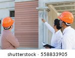 architect and engineer inspect... | Shutterstock . vector #558833905