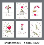 set of cards with heart flower... | Shutterstock .eps vector #558837829