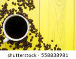 morning coffee in the cup and... | Shutterstock . vector #558838981