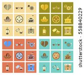 assembly of flat icons coffee... | Shutterstock .eps vector #558840229