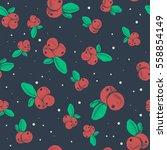 hand drawn cranberry pattern.... | Shutterstock .eps vector #558854149