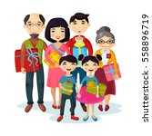 cartoon happy family gifts and... | Shutterstock .eps vector #558896719