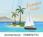 tropical sea or ocean island.... | Shutterstock .eps vector #558896731
