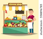 cheese shop or store with... | Shutterstock .eps vector #558896785