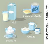 calcium milk products in carton ... | Shutterstock .eps vector #558896794