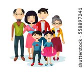 cartoon picture of family with... | Shutterstock .eps vector #558897241