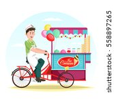 man selling ice cream at cart... | Shutterstock .eps vector #558897265