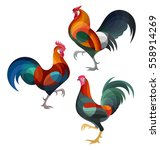 stylized chickens   roosters | Shutterstock .eps vector #558914269