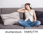 beautiful young woman at home... | Shutterstock . vector #55892779