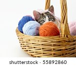 Stock photo tricolor female kitten playing with ball of whool on pink background horizontal shape copy space 55892860