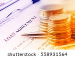 loan agreement with a blue...   Shutterstock . vector #558931564