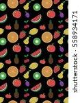 fruity pattern on a black... | Shutterstock .eps vector #558934171
