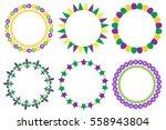 mardi gras frame set. cute... | Shutterstock .eps vector #558943804