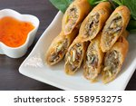 Fried Spring Rolls On White...