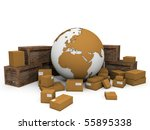 cardboard boxes and crates around a globe with extruded continents - stock photo