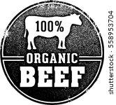 100  organic beef market stamp | Shutterstock .eps vector #558953704