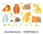 Stock vector cartoon forest pattern with animals parent with baby brightly colored childish animals mothers 558956611