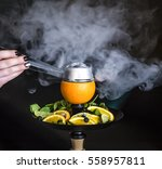 Hookah On Orange With Mint And...