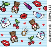 seamless pattern chic patches | Shutterstock .eps vector #558961615