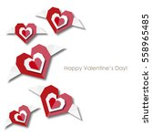 flying paper style hearts | Shutterstock .eps vector #558965485