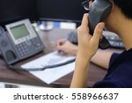 close up call centre man... | Shutterstock . vector #558966637