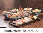 assorted sushi set menu | Shutterstock . vector #558971377