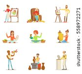 adult people and their creative ... | Shutterstock .eps vector #558972271