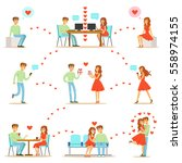 man and woman finding love and... | Shutterstock .eps vector #558974155