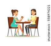 happy best friends drinking... | Shutterstock .eps vector #558974221