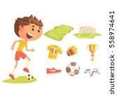 boy soccer football player ... | Shutterstock .eps vector #558974641