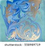 blue and golden liquid texture  ...   Shutterstock . vector #558989719