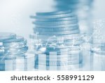 double exposure rows of coins... | Shutterstock . vector #558991129