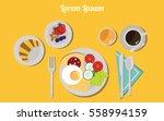 flat breakfast food icons.... | Shutterstock .eps vector #558994159