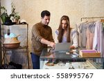 man and young woman working... | Shutterstock . vector #558995767