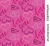 valentine's day pattern with... | Shutterstock .eps vector #558999649