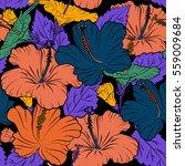 hibiscus flowers seamless... | Shutterstock . vector #559009684