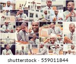 Collage Busy Multitasking Handsome Business - Fine Art prints