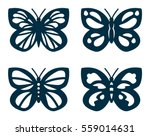 Stock vector set of cutout butterflies for laser cutting butterflies silhouettes 559014631